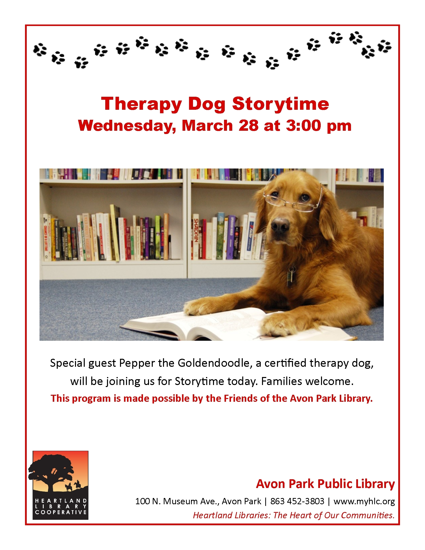 Therapy dog storytime at the avon park library heartland library therapy dog storytime at the avon park library heartland library cooperative 1betcityfo Image collections