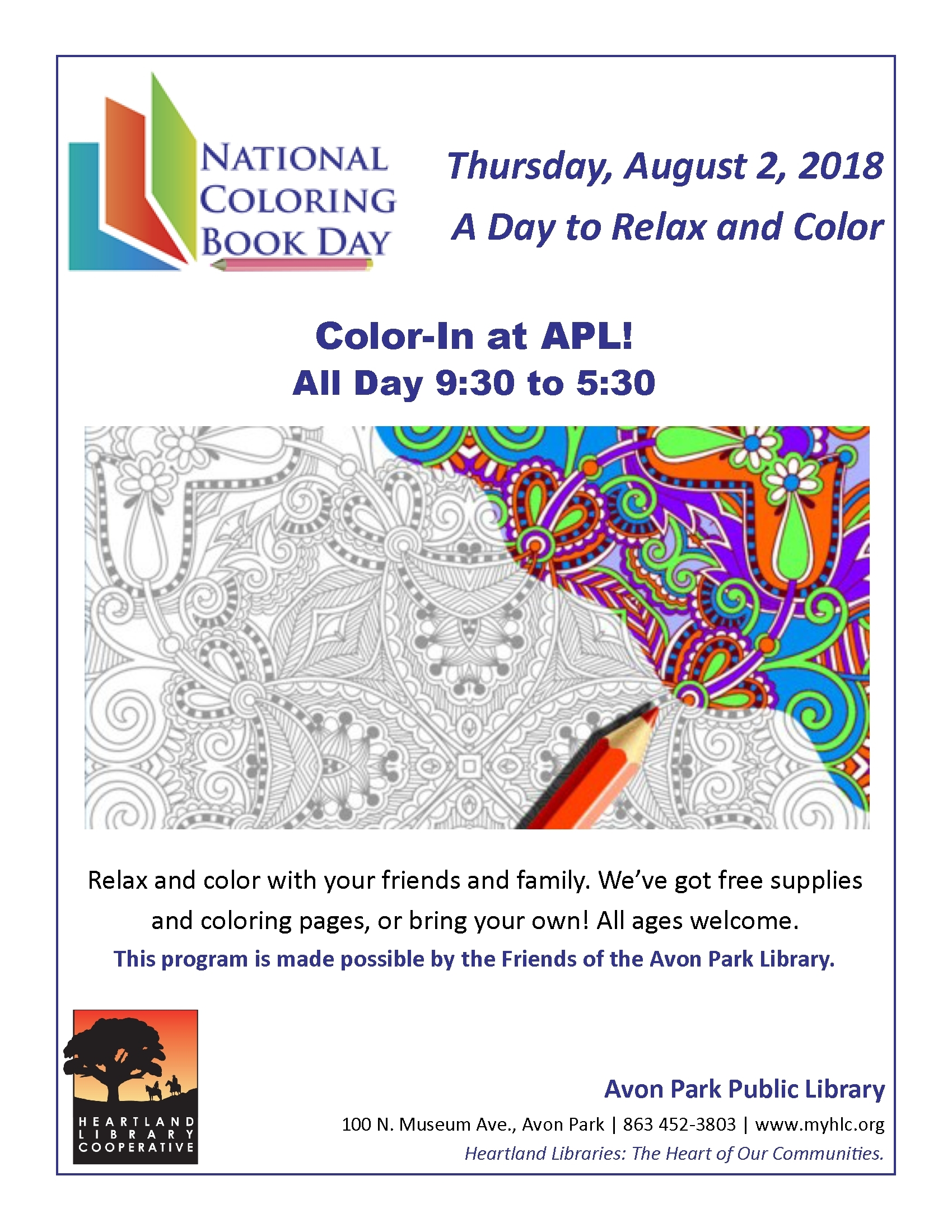 Apl National Coloring Book Day 2018 Heartland Library Cooperative