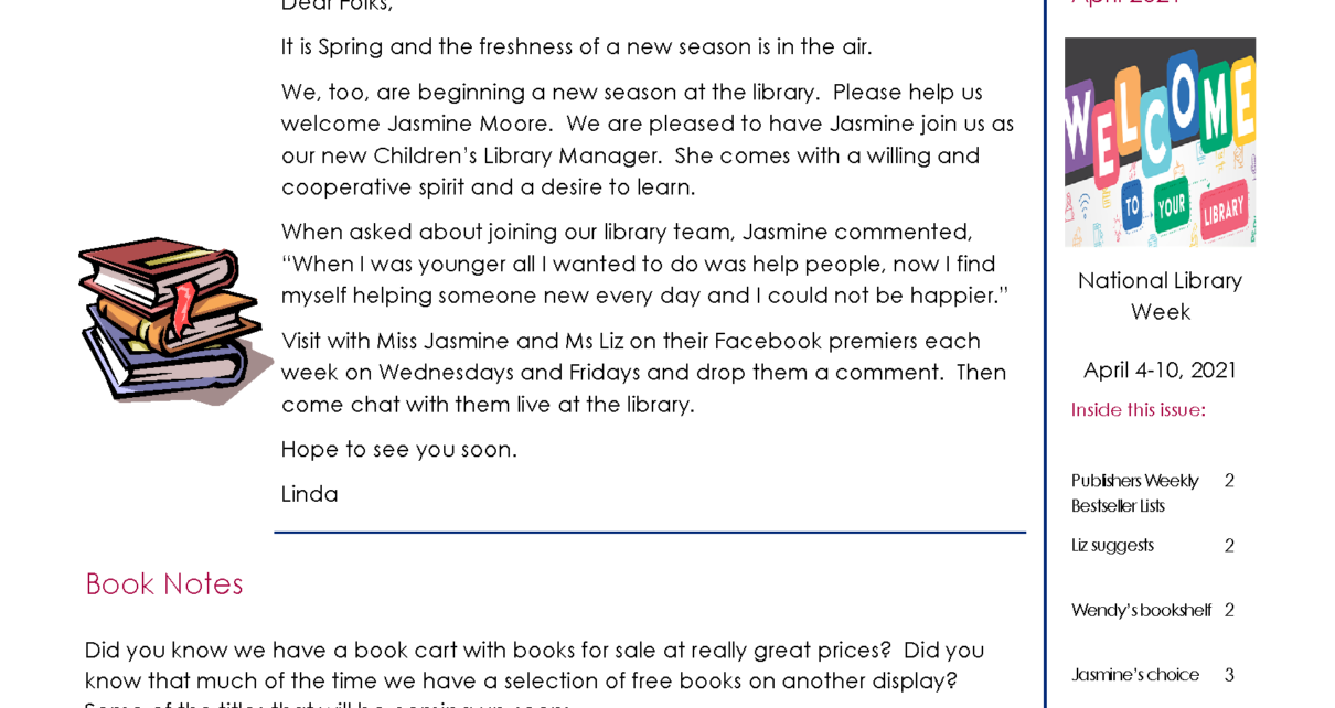Page 1 Friends of DeSoto County Library Association April Newsletter