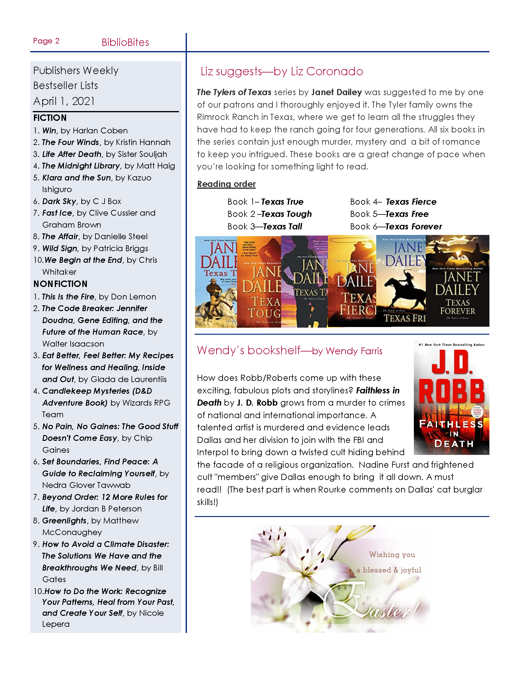 Page 2 Friends of DeSoto County Library Association April Newsletter