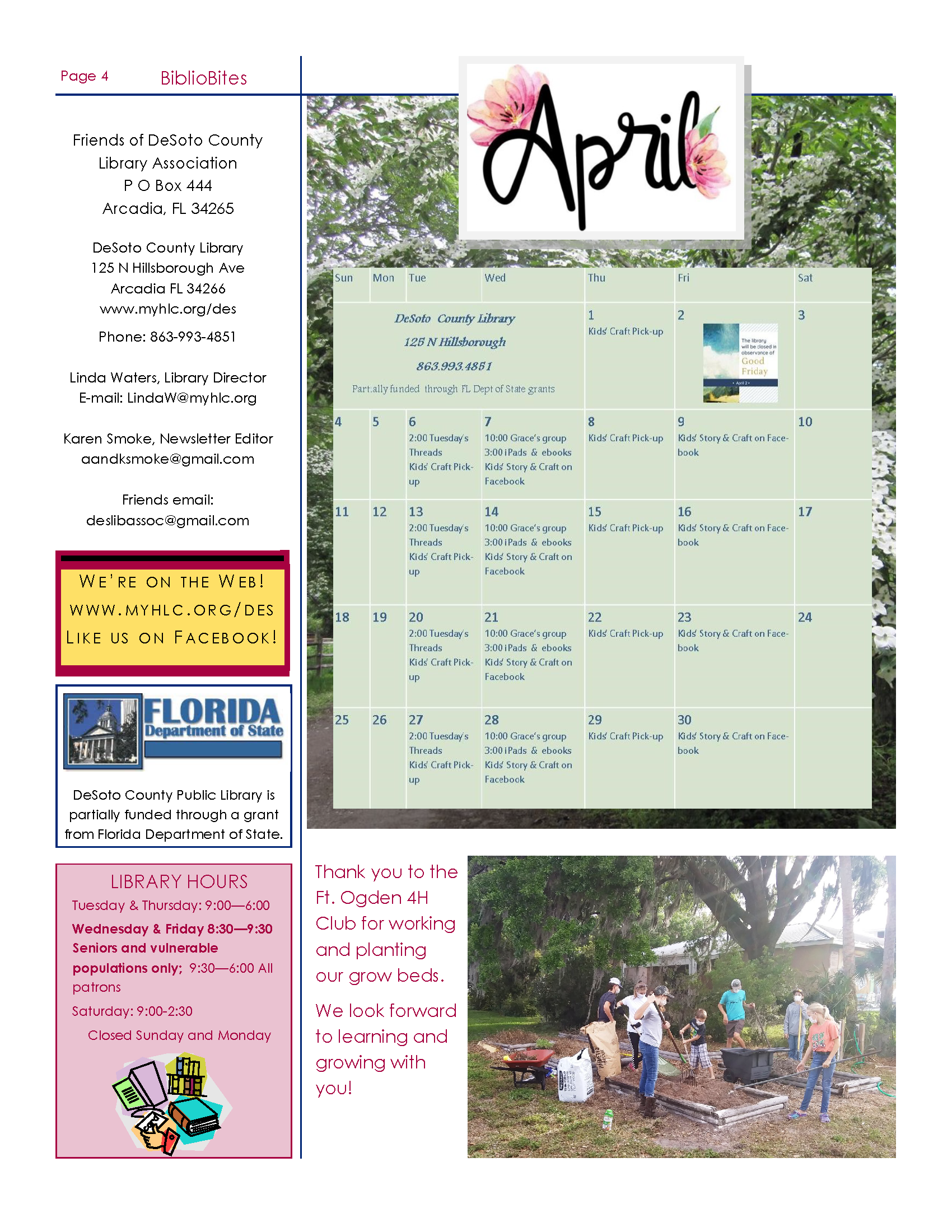 Page 4 Friends of DeSoto County Library Association April Newsletter