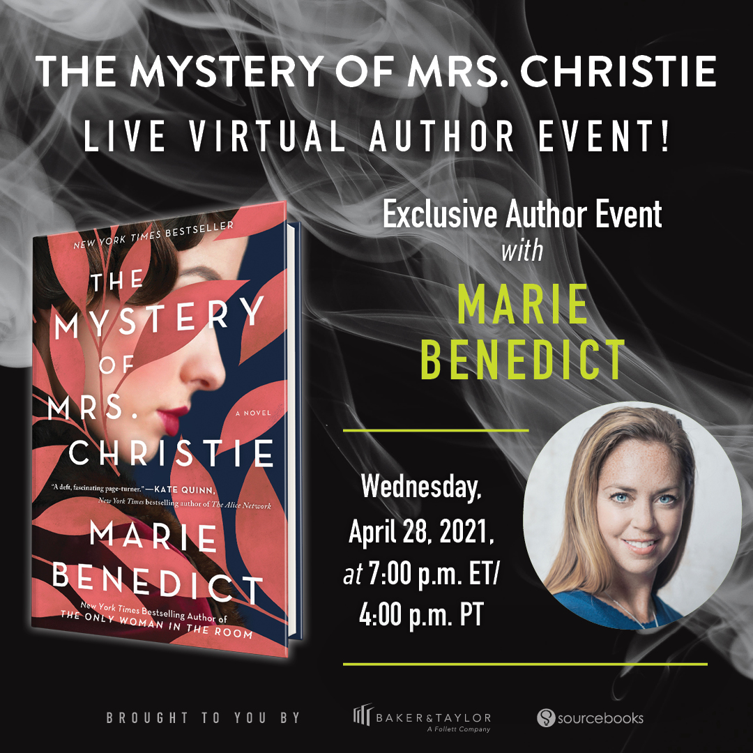 """Readers, we have a special event for you! Join us for our Mystery Book Club for April and live, virtual author event. Just read """"The Mystery of Mrs. Christie"""" by Marie Benedict. Title is available in ebook format on Axis 360. Download the Axis 360 app or visit this link. Limited print copies will also be available to borrow and/or place holds from your local branch! (Click here to place hold on a print copy). Library cards are required to access Axis 360 and to borrow print items. Questions? Call 863-402-6716. The author event will take place virtually through Zoom on April 28, 2021 at 7:00 P.M. To register for the LIVE author event, click this link & be sure to list your library when registering: https://us02web.zoom.us/webinar/register/WN_GNNrIOlnR3unC2HG0hFNRQ To host a book club on your own, you can use these discussion questions to guide the conversation,click here for the downloadable PDF. To participate in discussion questions, visit the Heartland Library Cooperative Facebook page and look for discussion posts throughout the month of March!"""