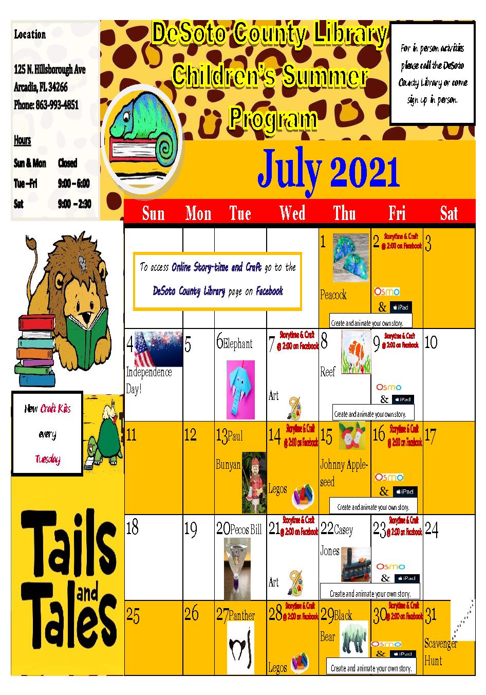 DeSoto July 2021 Summer Reading Calendar