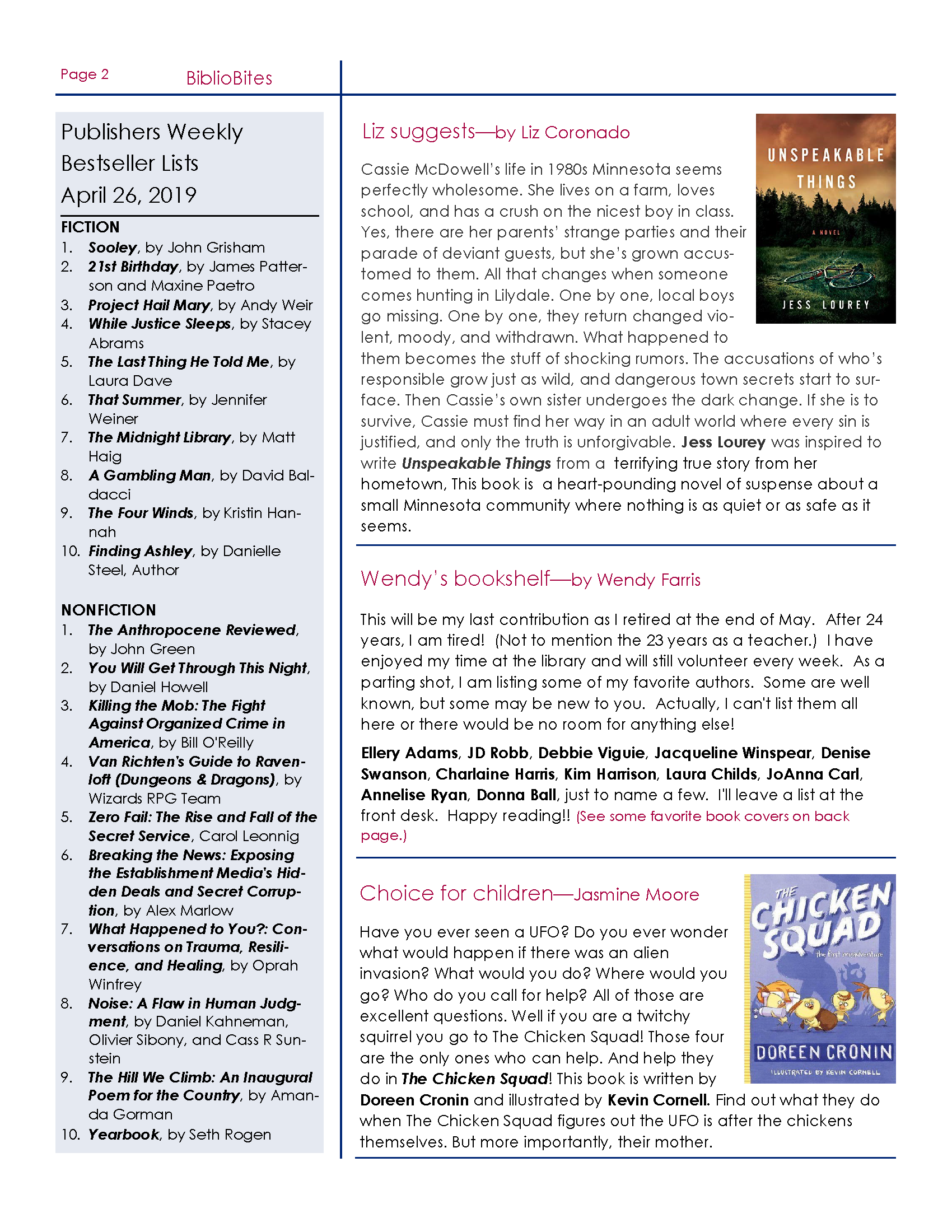 Page 2 of Newsletter