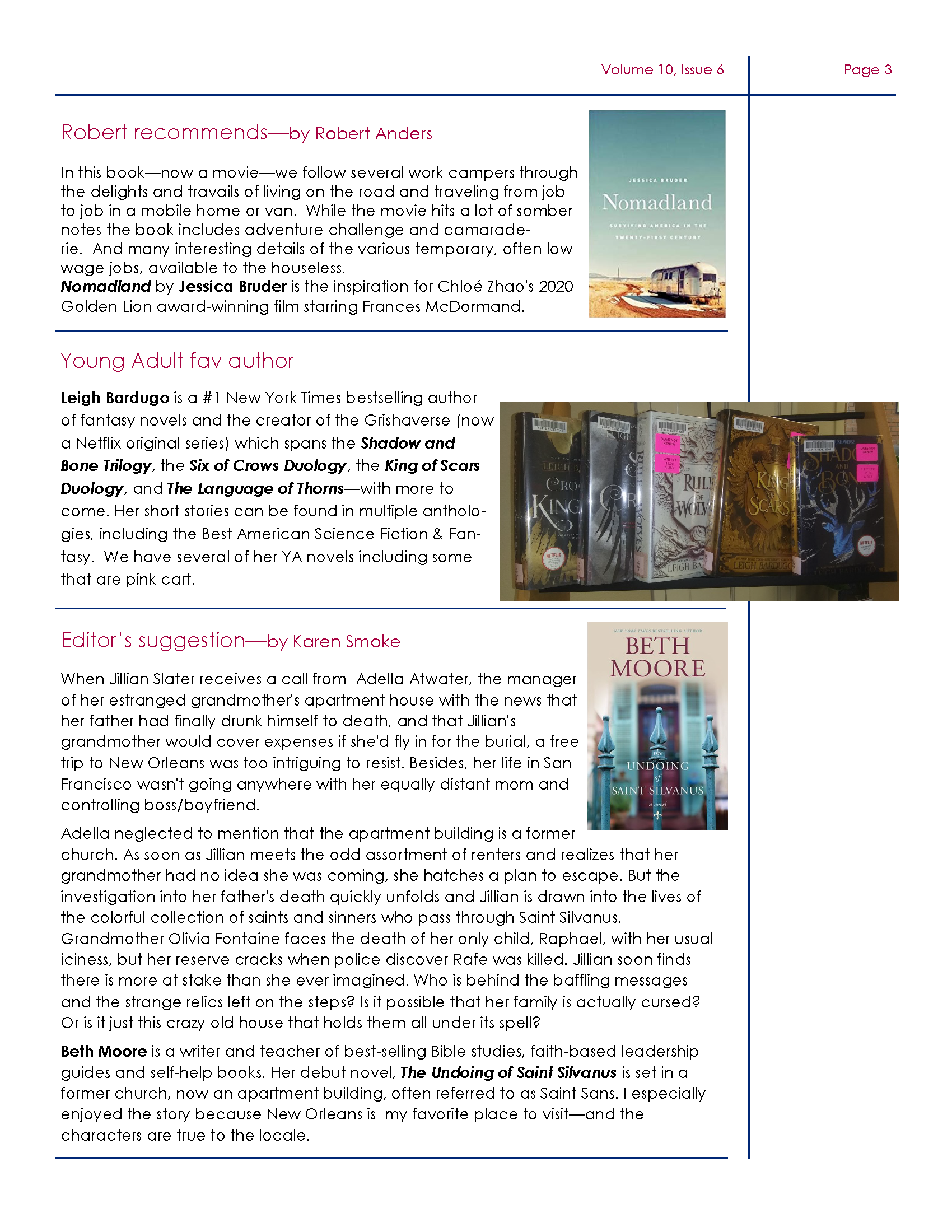 Page 3 of Newsletter