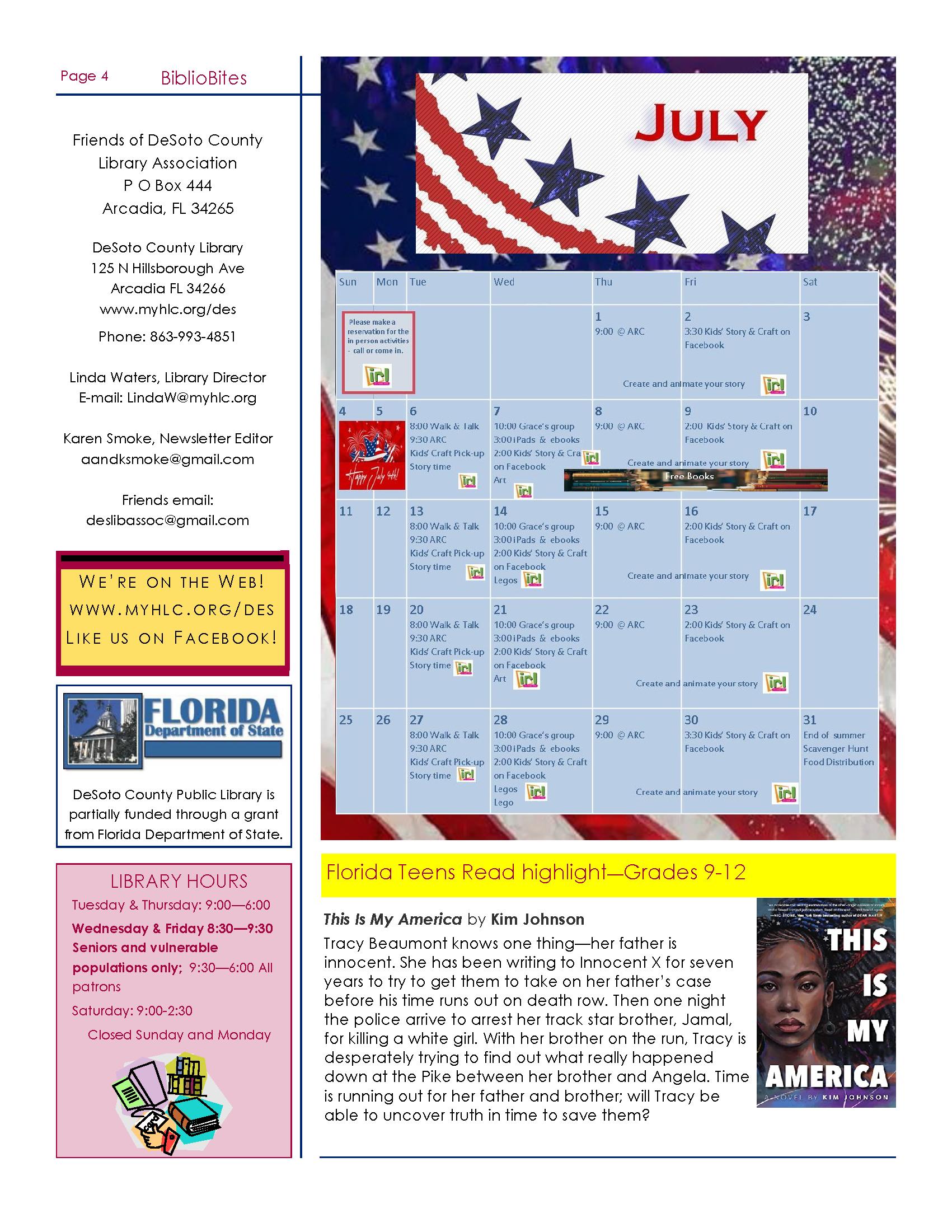 DeSoto Friends July Newsletter Page 4