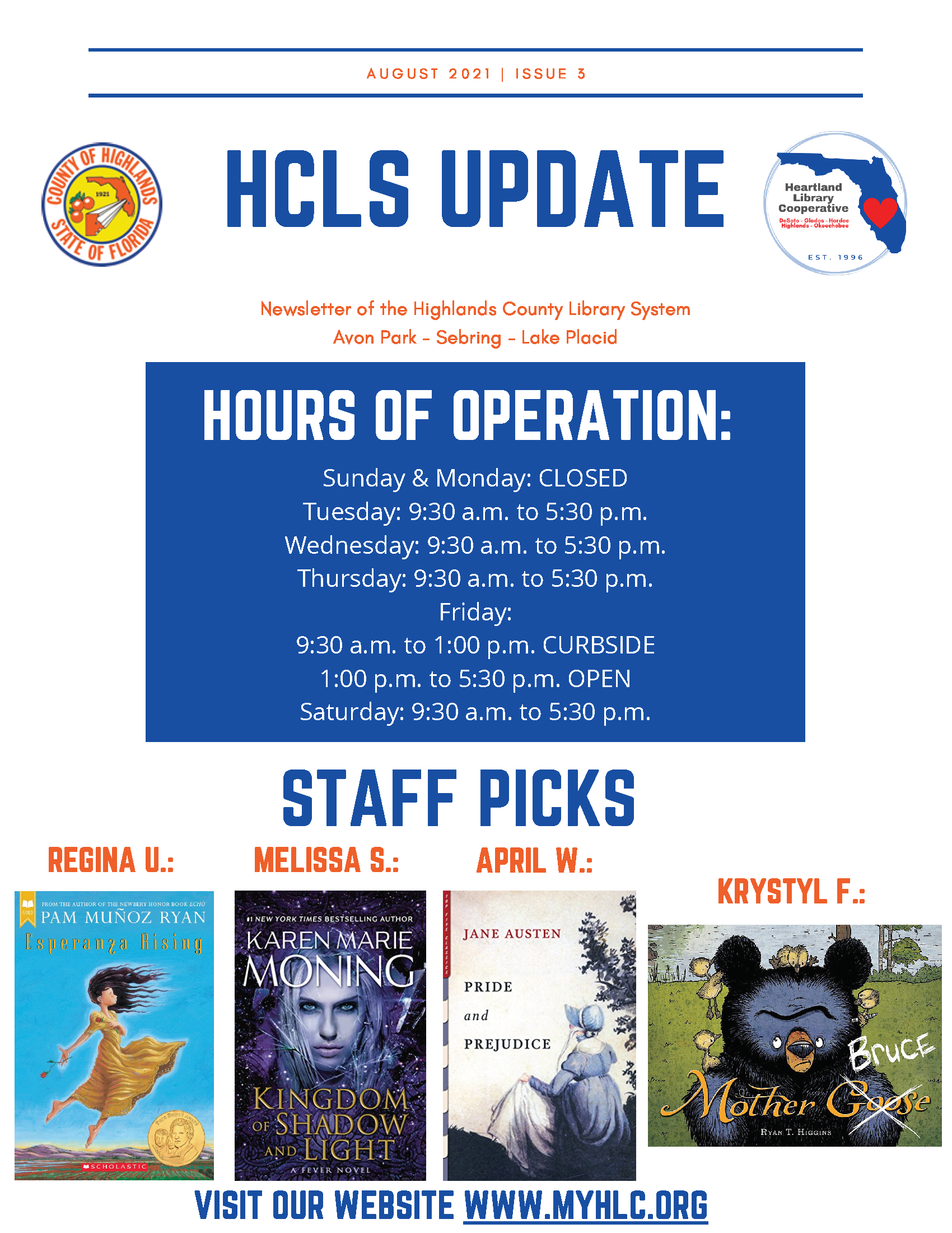 Highlands County Libraries August Newsletter Page 1