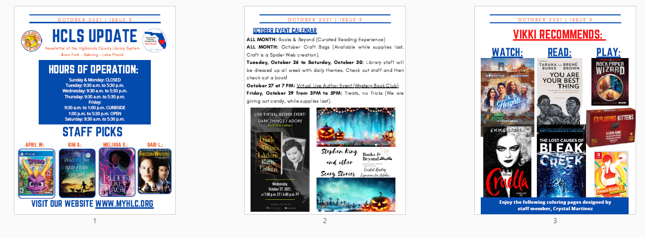Images of October newsletter. Downloadable PDF available