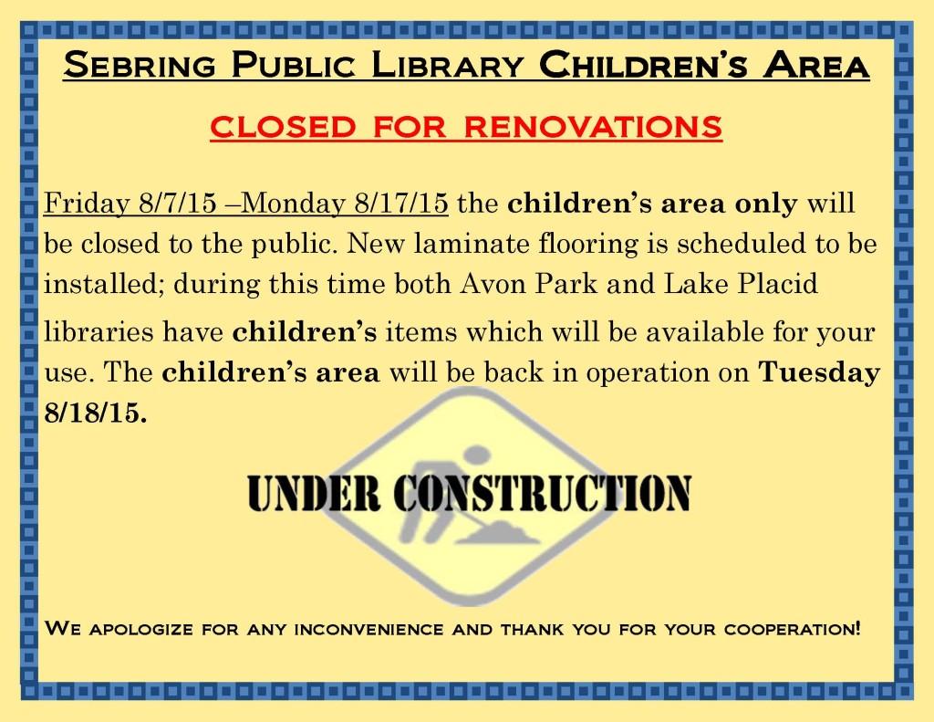 Childrens area closed