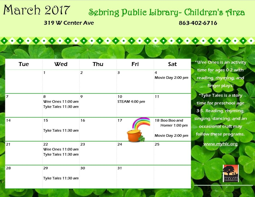Sebring Library Calendar of Evets
