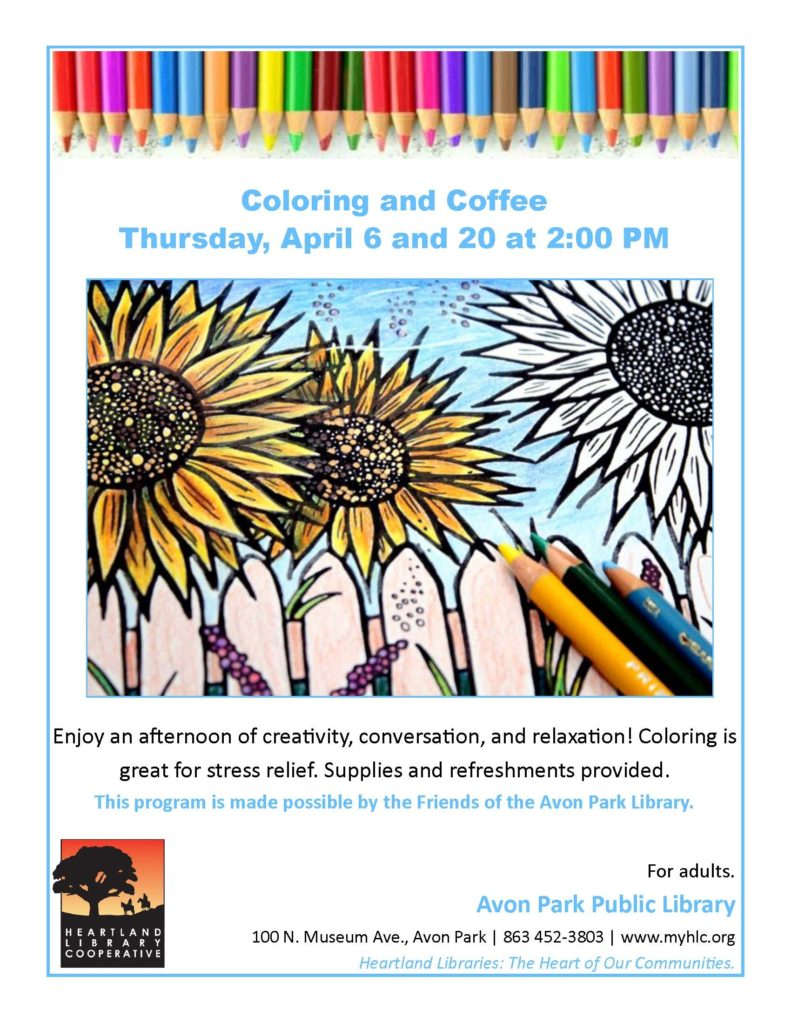 Coloring and Coffee Thursday, April 6 and 20 at 2:00 PM