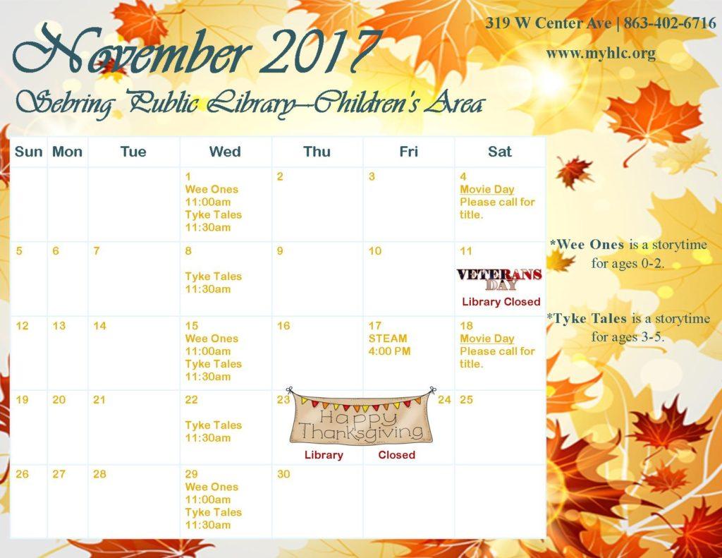 Sebring childrens calendar NOV 2017