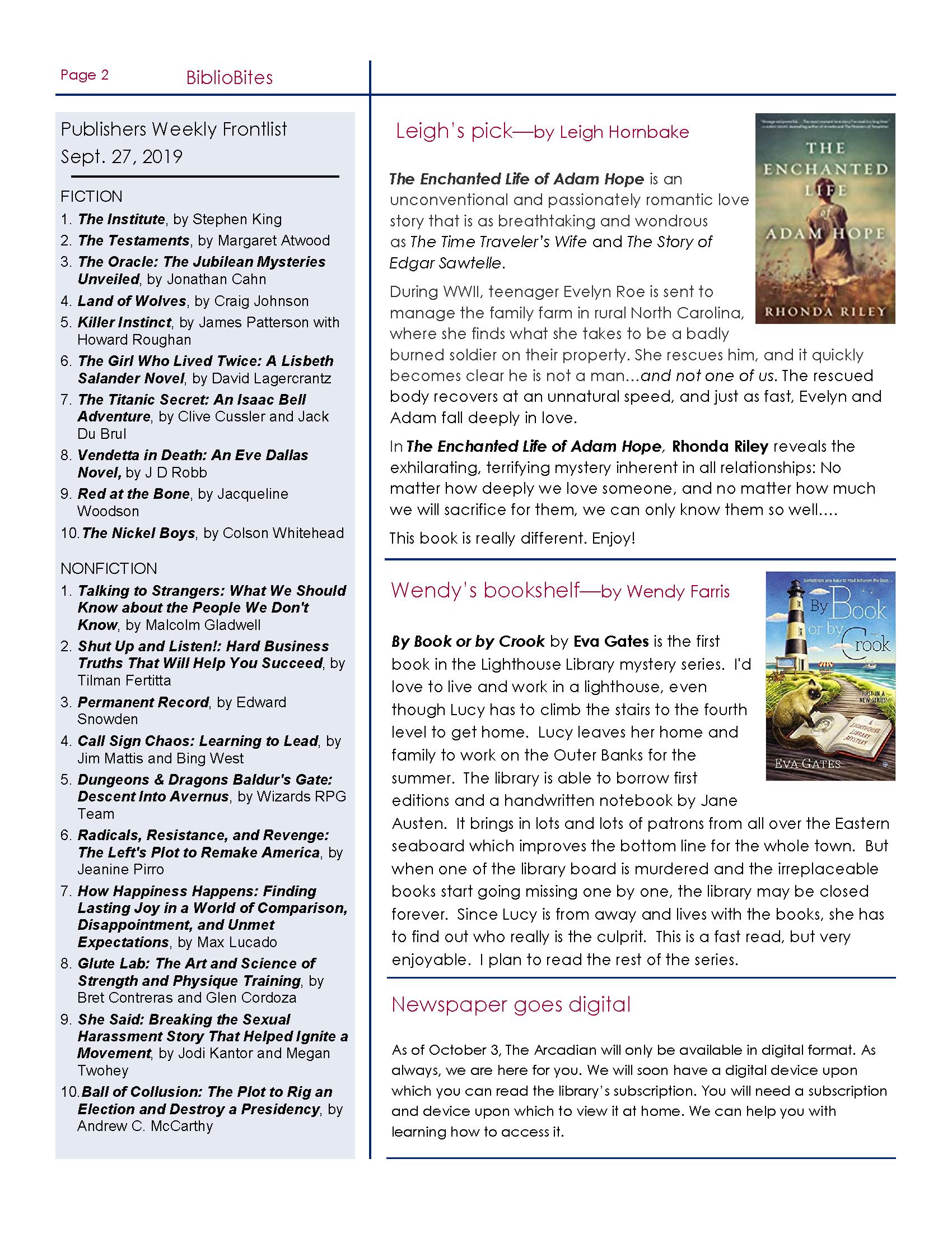 Okeechibee October 2019 newsletter
