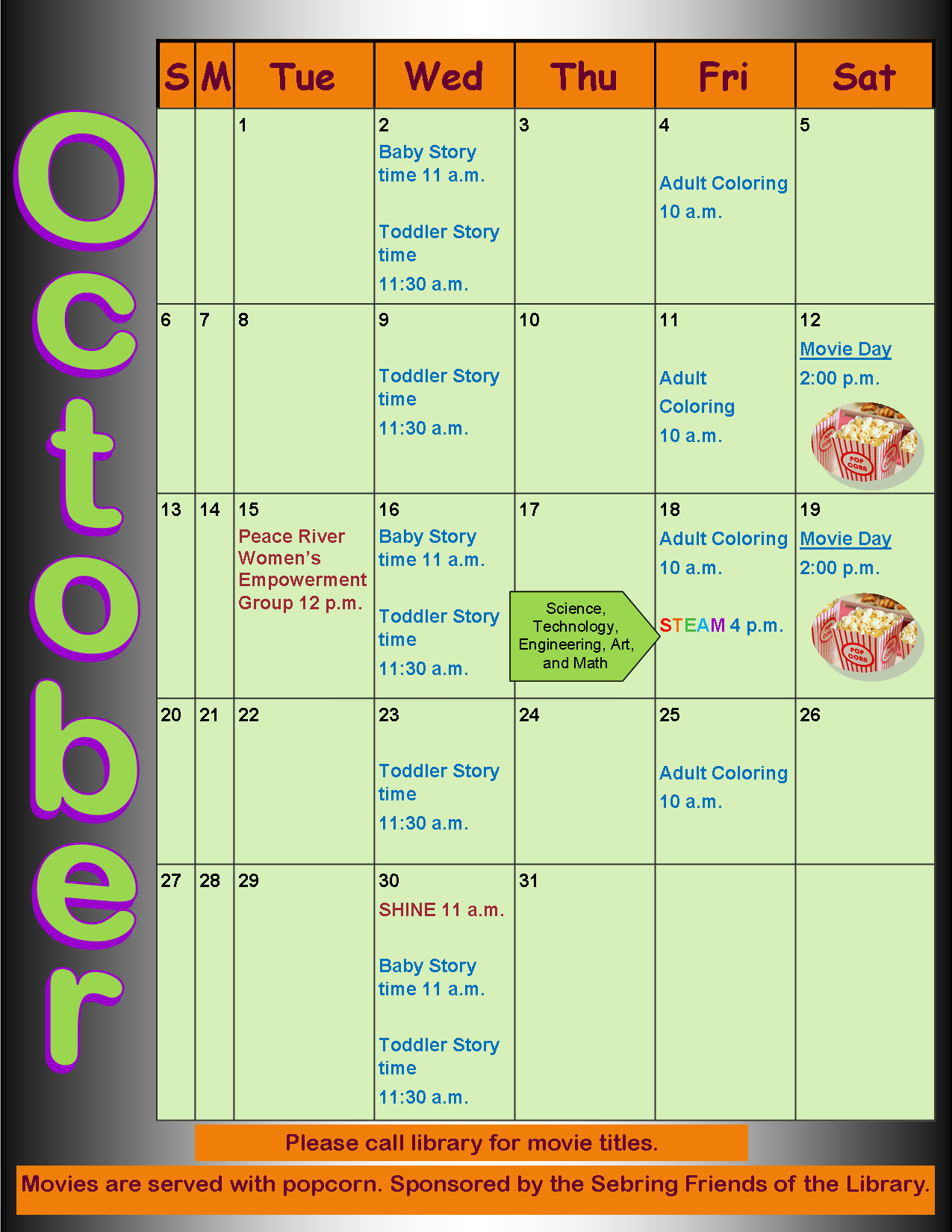 Sebring Library October 2019 Calendar of Events