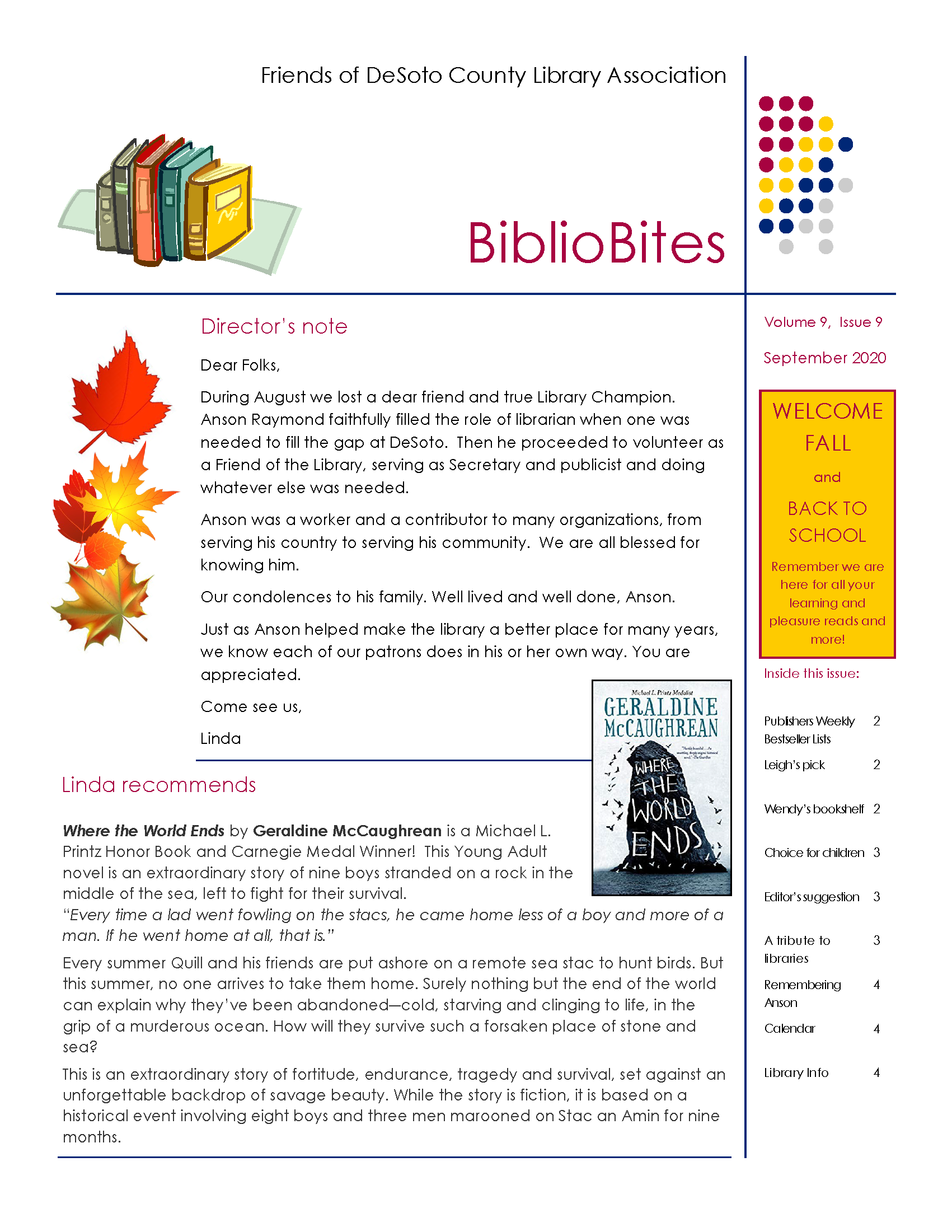 DeSoto COunt Library September 2020 Newsletter