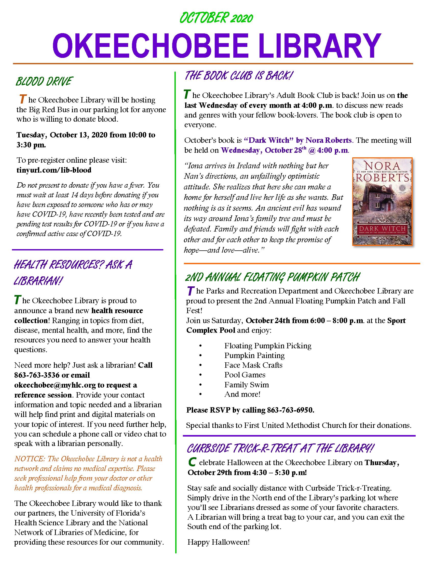 Okeechobee Library September 2020 Newsletter page 1