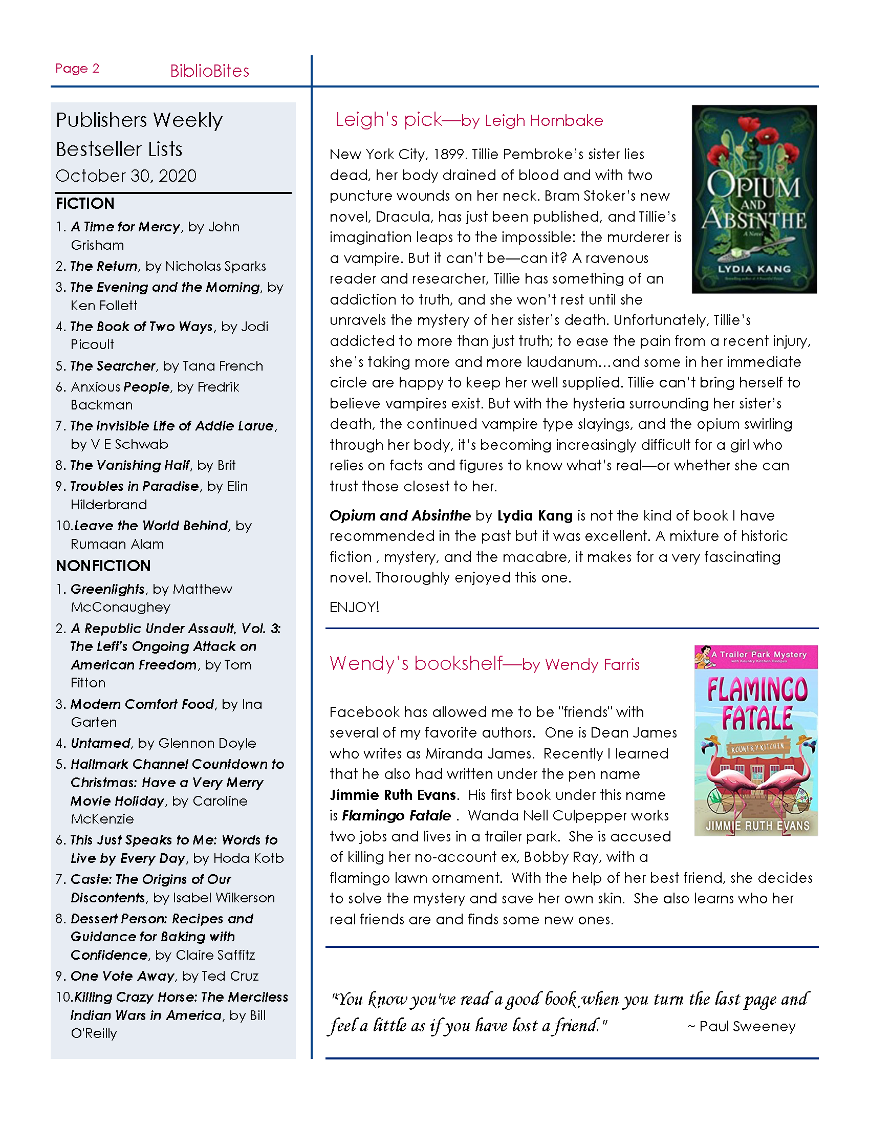 Page two of DeSoto November Newsletter, available for PDF download