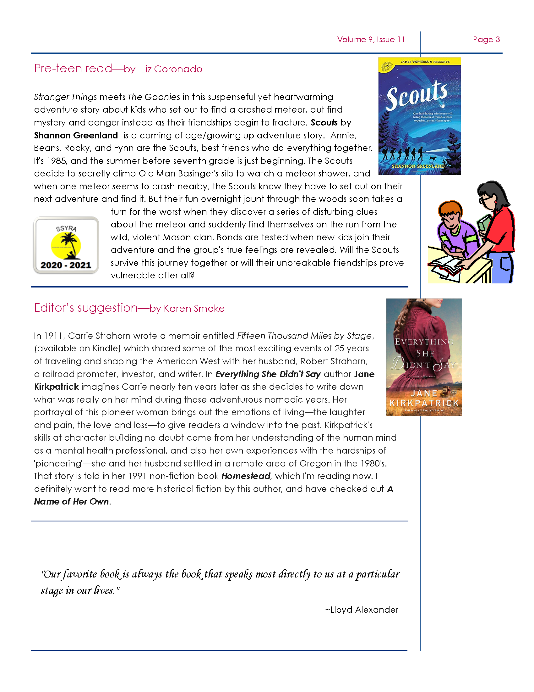 Page three of DeSoto November Newsletter, available for PDF download