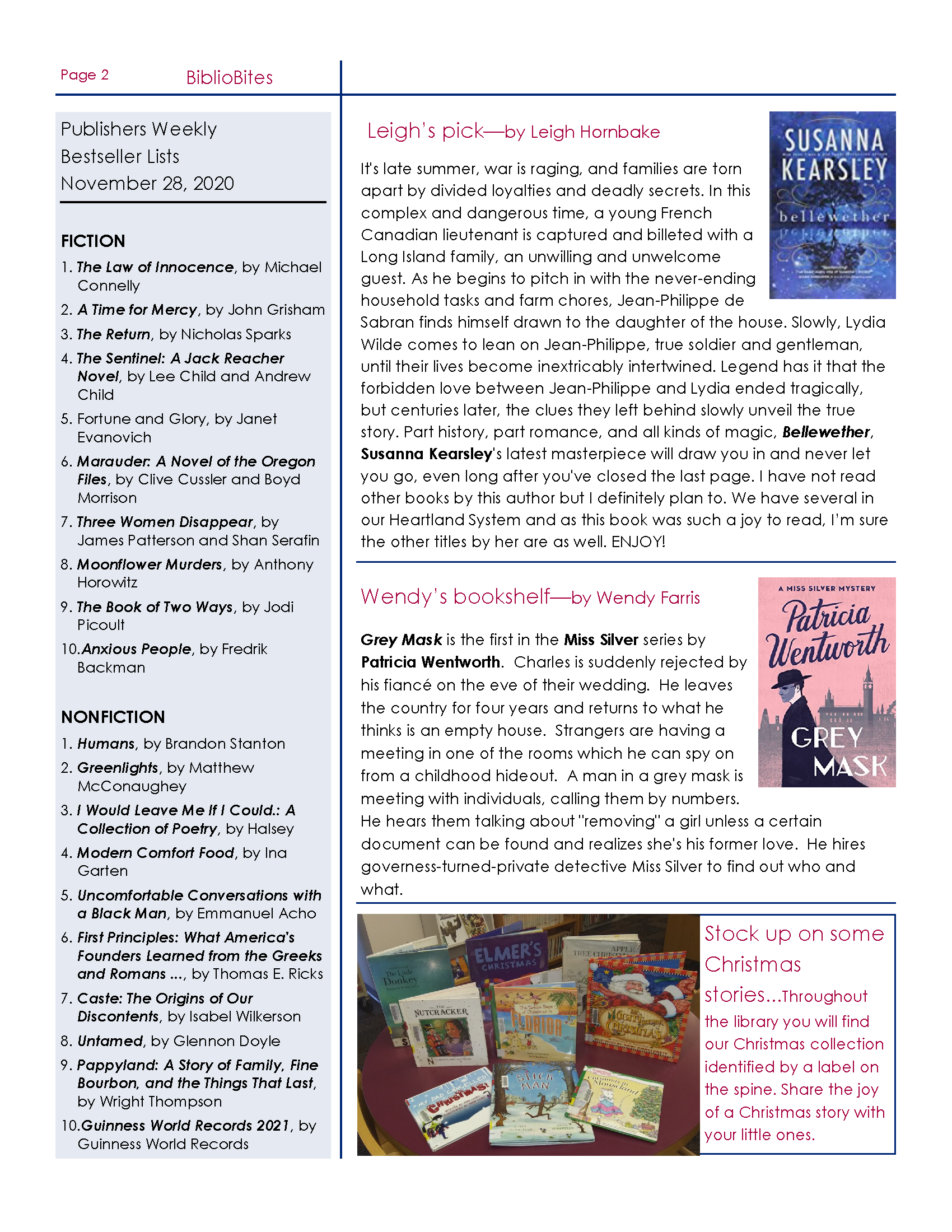 Page two of Friends of DeSoto County Library Association December Newsletter. Downloadable PDF available by clicking link before first  image.