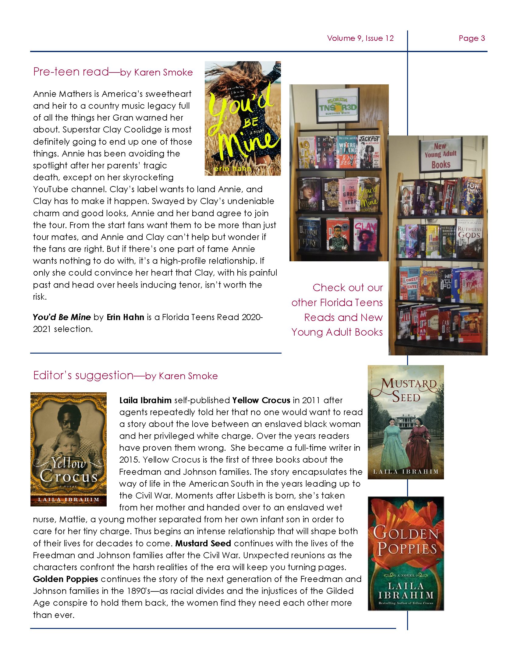 Page three of Friends of DeSoto County Library Association December Newsletter. Downloadable PDF available by clicking link before first  image.