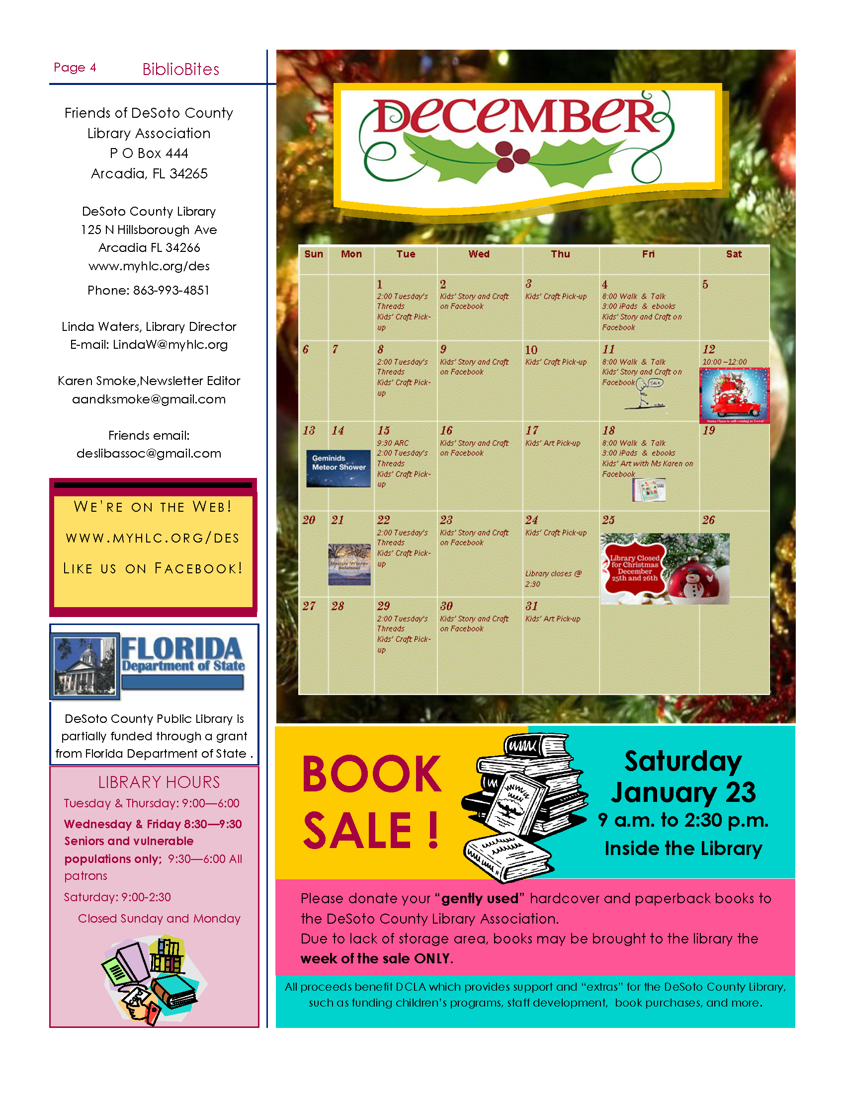 Page four of Friends of DeSoto County Library Association December Newsletter. Downloadable PDF available by clicking link before first  image.