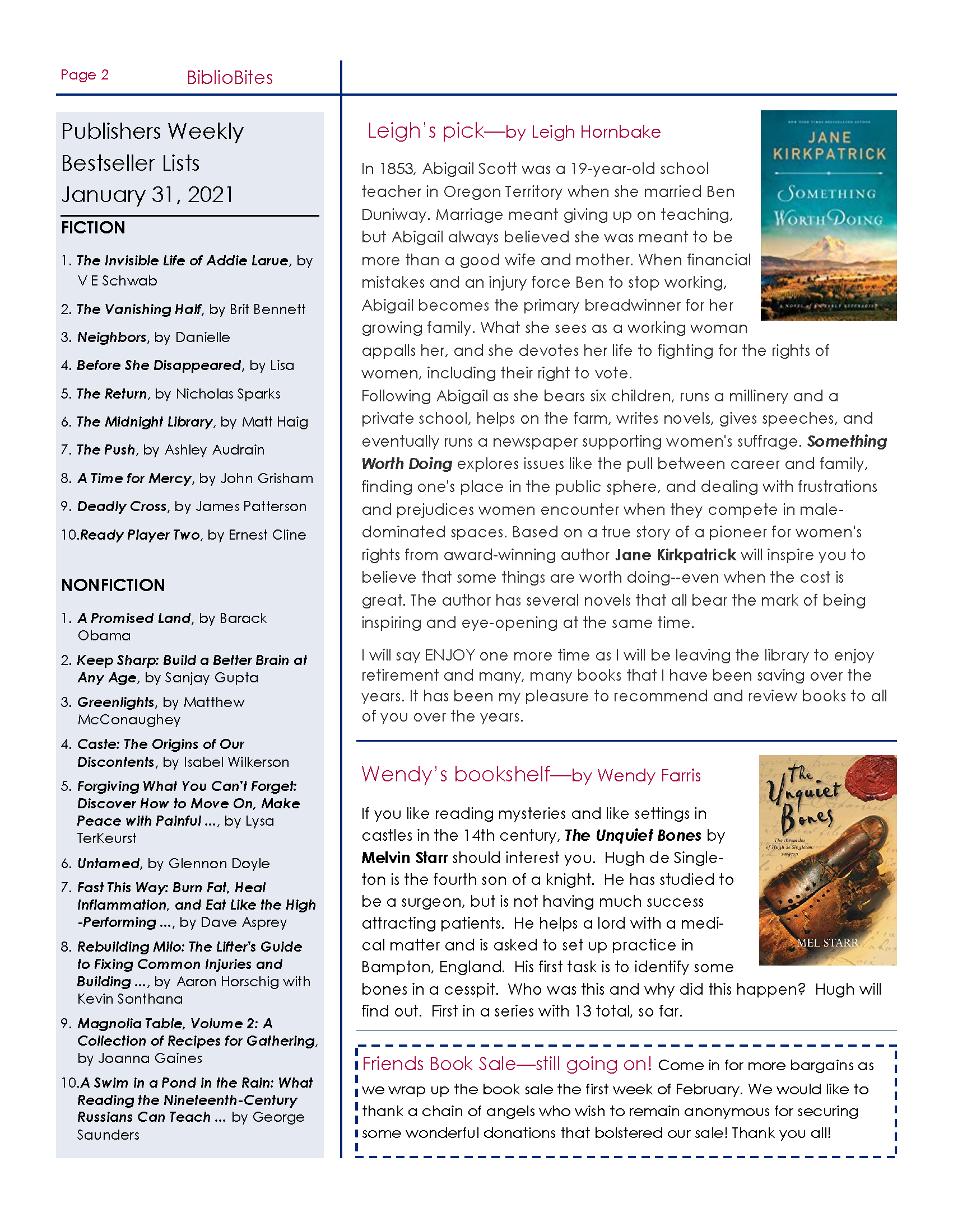 Page 2 Friends of DeSoto County Library Association February Newsletter. Downloadable PDF Available.
