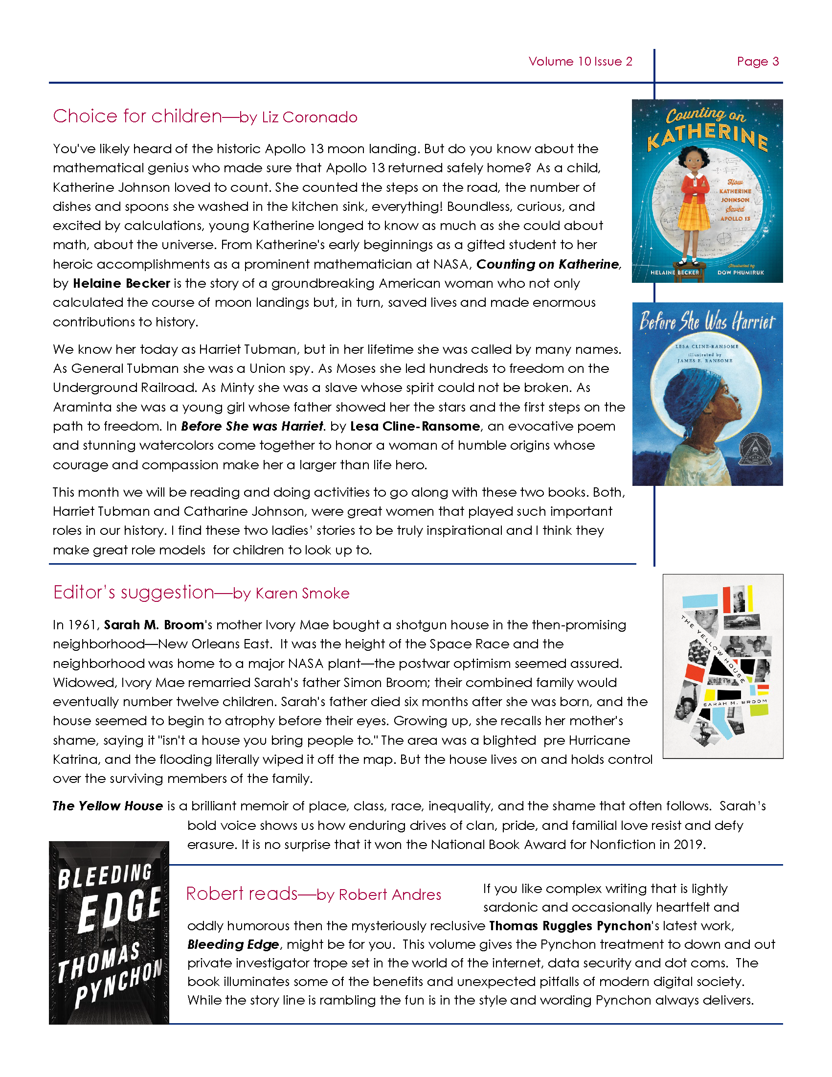 Page 3 Friends of DeSoto County Library Association February Newsletter. Downloadable PDF Available.