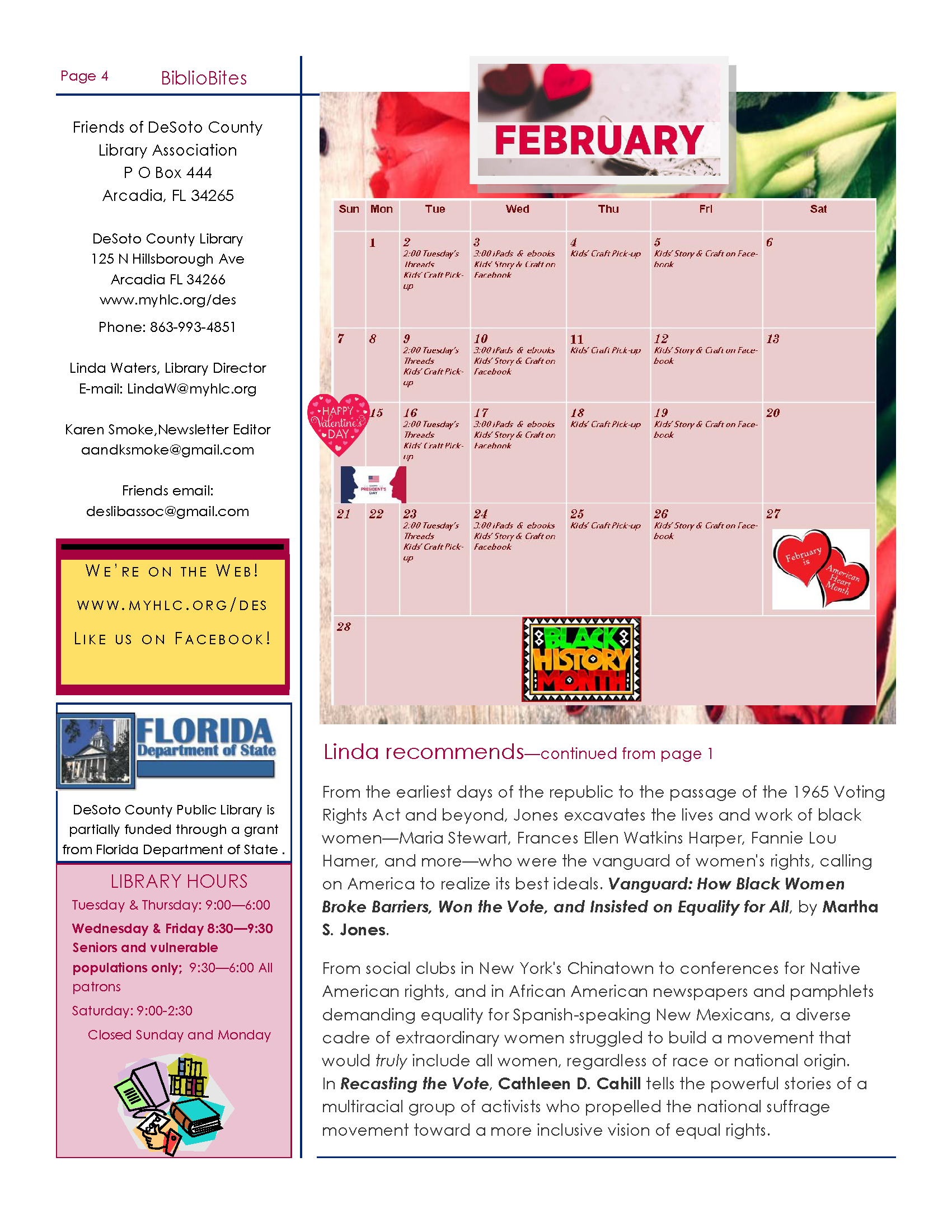 Page 4 Friends of DeSoto County Library Association February Newsletter